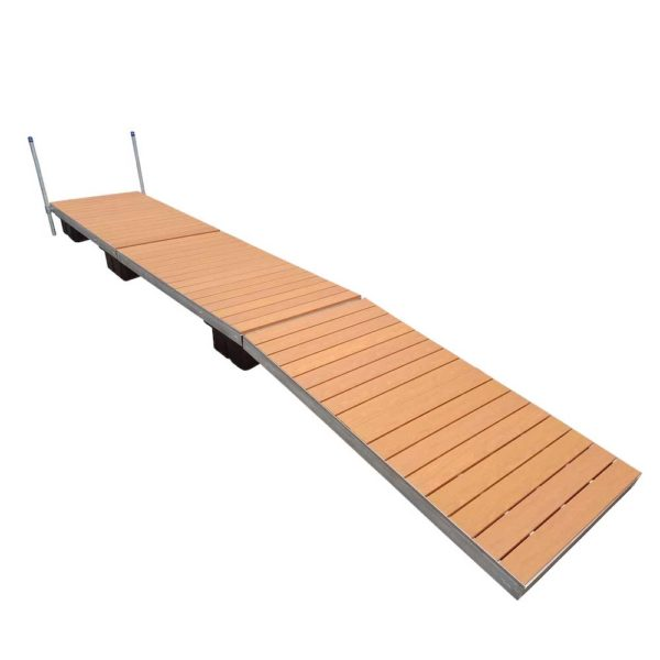 straight floating dock brown aluminum